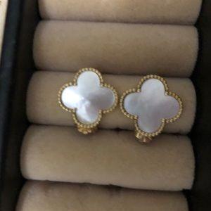 Gold & White Four Clover Stud Earrings